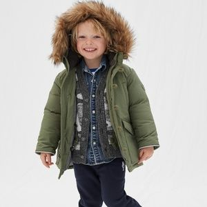 Gap army green toddler down jacket
